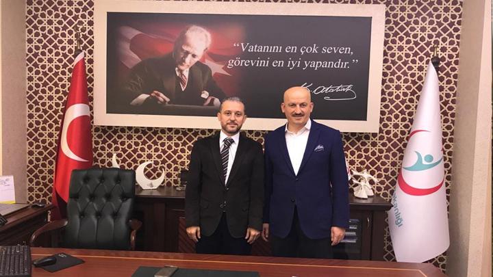 Düzce İl Sağlık Müdürlüğüne atanan Dr. Yasin Yılmaz'a hayırlı olsun ziyaretinde bulunduk